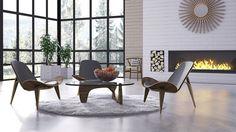 Spacious and Minimal  -  Table: http://www.inmod.com/noguchitable.html Chair: http://www.inmod.com/ch24-wegner-style-wishbone-chair.html Chair: http://www.inmod.com/wegner-shell-chair.html Mirror: http://www.inmod.com/cooper-classics-heather-sunburst-mirr