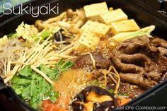 Besides Shabu Shabu, another popular Japanese hot pot dish (nabemono) is Sukiyaki.  The main ingredient is thinly sliced beef simmered in the sukiyaki sauce.  The beef slices for Sukiyaki is slightly thicker than Shabu Shabu