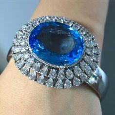 * Blue Topaz bracelet** With Cz diamonds