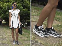 Renata Ferraz, do bog Get Trendy, também encolheu o branco para compor o seu look. Ela deixou o vestido da H&M mais descontraído com o par de tênis Nike estampado, e finalizou a produção com brincos vibrantes da marca João Sebastião