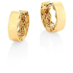 "Roberto Coin Symphony Plain Shiny 18K Yellow Gold Huggie Hoop Earrings/0.3"" featuring polyvore, women's fashion, jewelry, earrings, apparel & accessories, gold, post earrings, gold post earrings, fake earrings, fake hoop earrings and 18 karat gold jewelry"