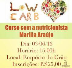 ADIADO! CURSO SOBRE DIETA LOW CARB COM A NUTRICIONISTA @mariliaaraujo_nutri ESTÁ COM NOVA DATA E NOVAS VAGAS!  Instruções Receitas Sorteio de um VALE COMPRA na Empório do Grão Sorteio de uma consulta com a nutricionista Marília Araújo FAÇA AGORA SUA INSCRIÇÃO!  Seja cliente VIP Empório do Grão e acumule pontos para troca de produtos GRÁTIS!  Av Dr Antônio Gomes de Barros 211 Jatiúca (Antiga Amélia Rosa) 3432-8755 (Delivery) 99166-3384 (WhatsApp) emporiodograomcz@gmail.com Seg a sex - 8h às…