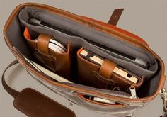 Pad and Quill Handmade Laptop Computer Bag - The Messenger Bag - Charcoal/Whiskey