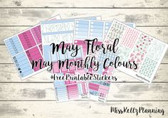 Miss Kellz Planning: May Floral - May Monthly Colour Weekly Kit #FreePrintableStickers