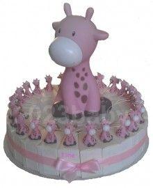 Taart Raf de giraf blauw/roze/creme