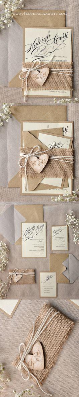 Rustic Wedding Invitation with Wooden Heart Tag #weddingideas #countrywedding #rustic