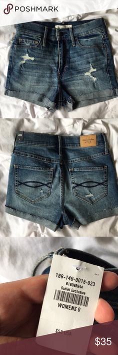 """Distressed + High-Waisted Denim Shorts BRAND NEW W/ TAGS! my favorite pair of A&F  shorts i've ever seen😭😭these are distressed, super high waisted, and in perfect condition!!! i need my body to be about 10 sizes smaller so i can keep them for myself............ US size 0 or waist size 25"""". Abercrombie & Fitch Shorts Jean Shorts"""