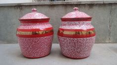Antique Pair of French Enamel Jars. by Lallibhai on Etsy