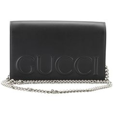 Pre-Owned Gucci XL Black Leather Crossbody Flap Bag (55,680 DOP) ❤ liked on Polyvore featuring bags, handbags, shoulder bags and black