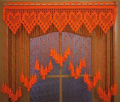 Beaded curtains, Crochet door curtains Hearts with acrylic beads and tassels, orange door curtains, crochet lace curtains Crochet Curtains, Beaded Curtains, Door Curtains, Crochet Motif, Crochet Doilies, Crochet Lace, Crochet Patterns, Orange Curtains, Turquoise Curtains