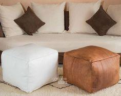 Square Moroccan Ottoman Pouf Natural Tan / White