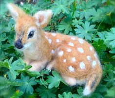 Needle Felted Deer Fawn Curled Up Laying Down by ClaudiaMarieFelt