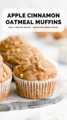 These apple cinnamon oatmeal muffins are healthy & easy to make! They're really moist & fluffy from greek yogurt. Made with lots of warm spices & no white sugar, these healthy oatmeal breakfast muffins are perfect for fall — or any time of year! apple oatmeal muffins healthy easy. apple cinnamon oatmeal muffins gluten free. apple oatmeal muffins healthy clean eating. low fat apple oatmeal muffins. easy oatmeal breakfast muffins moist greek yogurt. #healthyrecipe #cleaneating Healthy Muffin Recipes, Gluten Free Recipes For Breakfast, Healthy Cake, Healthy Muffins, Fruit Recipes, Healthy Baking, Baking Recipes, Brunch Recipes, Bread Recipes