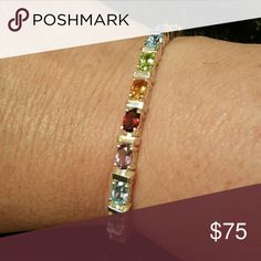 Spotted while shopping on Poshmark: Multi Gemstone Sterling Silver Tennis Bracelet! #poshmark #fashion #shopping #style #Jewelry