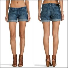 True Religion Cassie Low Rise Rolled Denim Shorts Condition: Excellent. Machine fade/ Minor distressed areas. Very slight whiskering along front pockets. 100% cotton. NO TRADES!!  **These are currently still online being sold on sale for $125 from $178. Get them for a great deal right now!!** True Religion Shorts Jean Shorts