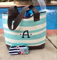 Thirty one euro straw tote in turquoise stripe and a soft eyeglass case and you're ready for the pool!