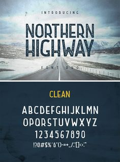 Northern Highway - new retro, vintage, minimal and simple font duo. Come with two styles: clean & rought with little gritty distressed texture. Typeface Font, Typography Fonts, Script Fonts, Typography Design, Lettering, Cursive, Best Logo Design, Graphic Design, Font Combos