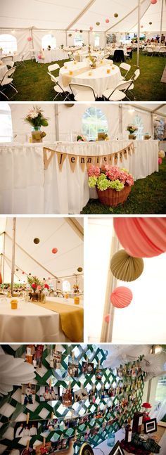 Green and Pink Tent Wedding Decorations
