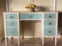 1940 Hepplewhite desk painted in ASCP's Old Ochre  and Old Town Paints' French Blue. All things new...