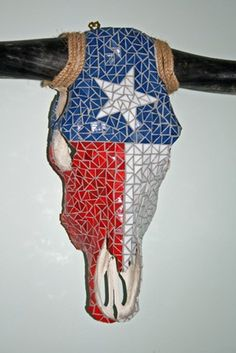Texas Flag Mosaic Cow Skull by ReneGibson on Etsy