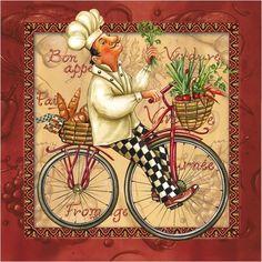Set of 2 pcs ''Chef'' paper napkins for Decoupage or collectibles Bicycle napkins Paper Napkins For Decoupage, Decoupage Vintage, Vintage Paper, Chef Kitchen Decor, Kitchen Art, Kitchen Prints, Chef Pictures, Bicycle Illustration, Le Chef