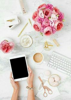 Styled Stock Photography for creative businesses. Pink on Marble Desk Collection… Flat Lay Photography, Image Photography, Product Photography, Computer Photography, Coffee Photography, Commercial Photography, Office Decor, Home Office, Tiny Office