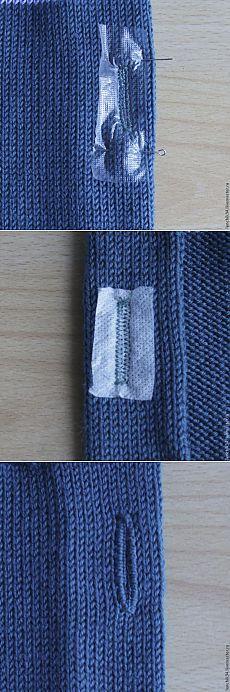 Как поставить  под пуговицы на вязаных изделиях - Ярмарка Мастеров