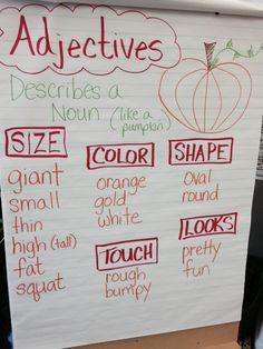 3 posts published by MsJordanReads during October 2014 2nd Grade Ela, 1st Grade Writing, 2nd Grade Reading, Second Grade, Grade 3, Adjectives Activities, Classroom Activities, Classroom Charts, Classroom Ideas