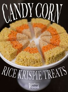 Candy Corn Rice Krispie Treats INGREDIENTS 2 sticks butter 2 10-oz bags mini marshmallows 3/4 tsp. salt (table salt is fine here, kosher will work too) 2-3 lemons yellow food coloring 1 12-oz. box Rice Krispie cereal 2 oranges red food   http://candy.lemoncoin.org
