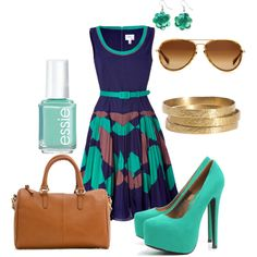 Turquoise, blue & brown, created by lndsy0817 on Polyvore