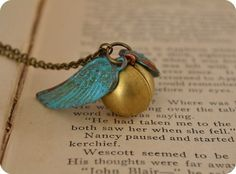 Golden Snitch Angel Ball Locket with Verdigris Copper Wings and 100 other awesome HP gifts!