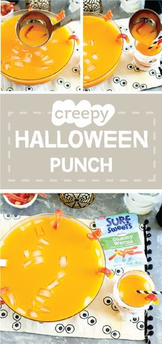 A delicious drink filled with good-for-you ingredients—there's nothing scary about this recipe for Creepy Halloween Punch! Pick up carrot juice, pumpkin juice, orange juice, and Surf Sweets Gummy Worms—made with organic ingredients—from a store near you to get started making this creative beverage for party guests young and old.
