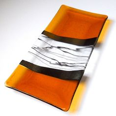 Amber Fused Glass Platter with Iridized Black Accents, 14 x 7 Inches | ResetarGlassArt - Glass on ArtFire