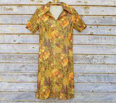 1970s Dress US Size 10 EU 40 Vintage Autumn by MerilinsRetro