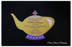 Jasmine Invitation Genie lamp Princess Invitation-Princess Tea Party Invitation, Jasmine inspired genie lamp Invite by Palm Beach Polkadots