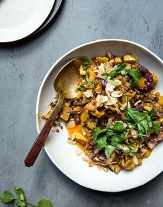 harissa + coconut milk baked delicata squash with lentils + toasted almonds  — whats cooking good looking
