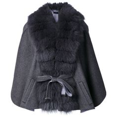 Guy Laroche belted cape (17.850 NOK) ❤ liked on Polyvore featuring outerwear, grey, cape coat, gray cape, belted capes, guy laroche and belted cape coat
