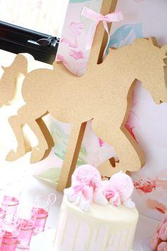 Gold foam carousel horse from a Floral Carousel Birthday Party on Kara's Party Ideas | KarasPartyIdeas.com (9)