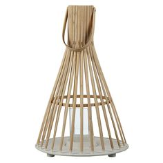 Bamboo Tall Hurricane Lantern, Natural