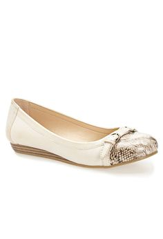 Cream ballet flats with animal print toe cap and buckle