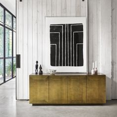 Freda Brass Clad Wrapped Industrial Buffet Sideboard