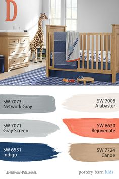 Pottery Barn Kids' paint palettes make it easy to create the perfect nursery, bedroom or playroom. Family Room Design, Interior Design Living Room, Interior Decorating, Interior Livingroom, Pottery Barn Kids, Boy Room Paint, Playroom Paint Colors, Wall Colors, Interior Paint Colors