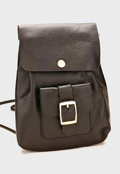Leatherette Buckle Pocket Baby Backpack / Crossbody Bag - Black