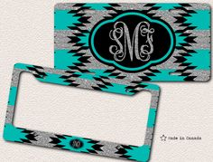 silver glitter tiffany blue aqua blue turquoise aztec pattern bike tag car tag license plate frame monogrammed license plate by saidtheowl on etsy