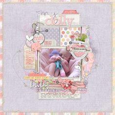 sweet #baby #scrapbook page from Lori at DesignerDigitals.com