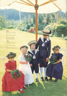 Laura Ashley 1993 Bridal Collection - patriotic blue and red flower girl dresses, and ring bearer. Laura Ashley 1980s, Laura Ashley Clothing, Laura Ashley Fashion, Ashley Clothes, Red Flower Girl Dresses, Vintage Girls Dresses, Little Girl Dresses, Flower Girls, Vintage Clothing