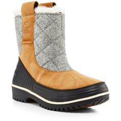 Sorel Tivoli 2 Pull On Boot ($130) ❤ liked on Polyvore featuring shoes, boots, leather shoes, real leather boots, slip on boots, round toe boots and slip on leather boots