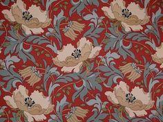 Cherry iLiv Art Deco cotton upholstery fabric