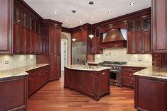 Cherry Wood Kitchen Cabinets, Cherry Wood Kitchens, Kitchen Cabinets Pictures, Solid Wood Kitchens, Wood Floor Kitchen, Best Kitchen Cabinets, Cabinets And Countertops, Kitchen Flooring, Dark Cabinets