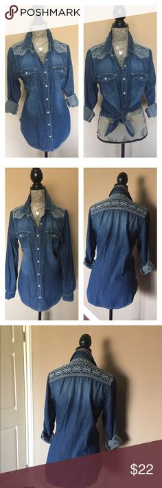 "Gorgeous Denim Shirt In immaculate condition. Just like new. Loose fit. Chest size 40"" length 29"" sleeves 25"".. MY PRICE IS FIRM, you can bundle for extra savings ty Democracy Tops Button Down Shirts"